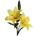 Kunstblume/Seidenblume Lilie mit 2 Blüten und einer Knospe