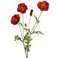 Kunstblume/Seidenblume Mohn mit 3 Blüten und 3 Knospen